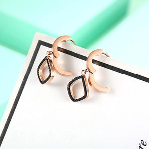 2020 new oval earrings titanium steel small jewelry 18K rose gold earrings