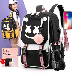 IMIDO Luminous DJ Man Backpacks for Students with Ornaments Back to School Bags Usb Charging Travel Shoulders Backpack for Boys A1113