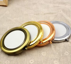200pcs 70mm poche compact miroir faveurs rondes en métal maquillage maquillage cadeau de maquillage maquillage sn4989
