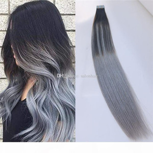 Brazilian Remy Hair Ombre Color 2 Dark Brown Fading to Silver Grey Glue Skin Weft PU Tape Hair Extensions 50g 20pcs