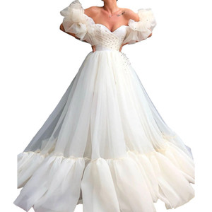 White Off the Shoulder Long Beaded Evening Dresses Gorgeous Puffy Sleeve Ruffles Tulle Prom Gowns Floor Length Lace Up Woman Abendkleider
