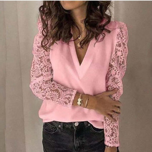 Women Shirt Blouse 2020 V neck Lace Hollow Out Top 5XL Embroidery Long Sleeve Patchwork Shirt Plus Size Feminino
