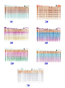 7 COlors 3D Diamond Makeup Brushes 20pcs Set Powder Brush Kits Face Eye Brush Colorful Brushes Foundation Brushes Party Gfits HH9-3733