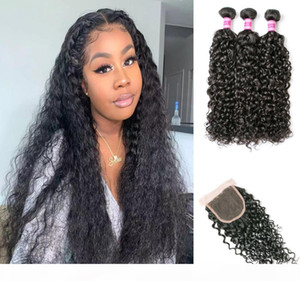 Brazilian Water Wave Virgin Hair Bundles With Lace closure Brazilian Human hair Extensions 3 Bundles With Lace Closure Products Wholesale