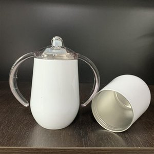 12oz double walled vacuum insulated sublimation blank white sippy egg shaped wine tumbler with sliding lid