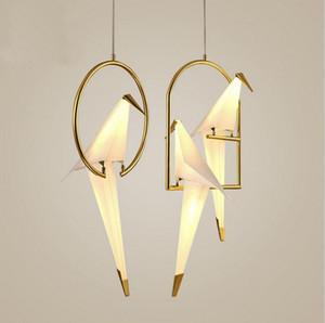 Modern Paper Crane Metal Chandelier Light Tabel lamp For Restaurant Living Room Dining Room Children's Room LED Bird Design Pendant Lamp