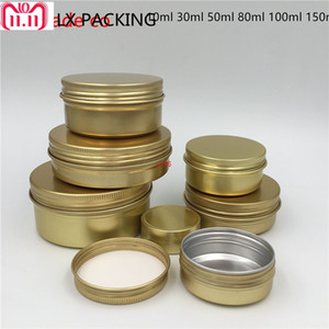 fast shippingFree Shipping 30ml 50ml 80ml 100ml 150ml Empty Gold Aluminum Cosmetic Cream Bottles Jars Top Grade Candle Pack Containers