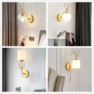 (Free Light Source)Nordic Antlers wall lamp E27 Glass sconce wall lights Black Golden lamps for home bedroom living room