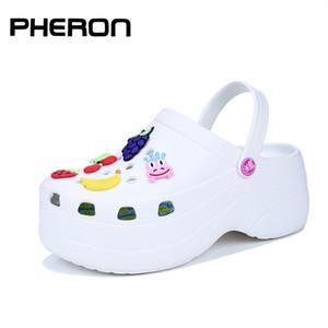 Pheron Carino Aumento Altezza 6 cm Sandali piattaforma zoccoli di sandali di muli Scarpe Donne Pantofole Sandoles Femme 2019 Nouveau Q1217