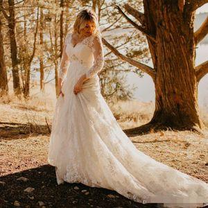 Plus Size Lace Country Wedding Dresses 2021 New Court Train Beaded V-Neck 3 4 Long Seeve A-Line Bridal Gowns Vestido De Novia