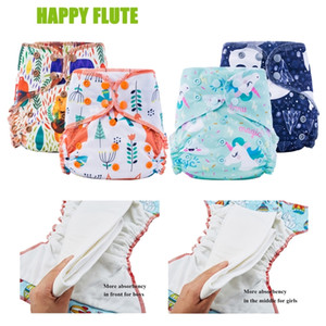 Happy Flute Organic Bamboo Cotton Overnight AIO Cloth Diaper Night Use Heavy Wetter Baby Diapers 201119