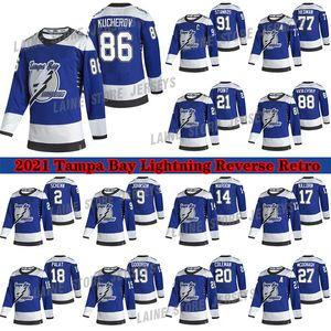 Tampa Bay Lightning 2020-21 Reverse Retro Jersey 91 Steven Stamkos 86 Nikita Kucherov 77 Victor Hedman 21 Point 71 Cirelli Hockey Trikots