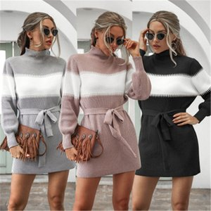 Women Lantern Sleeve Knitting Sweater Dress Fashion Trend Long Sleeve High Neck Short Skirt Designer Female Winter Colorblocked Casual Dress