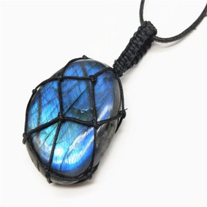 Labradorite Necklace Natural Stone Pendant Wrap Braid Necklace Yoga macrame Energy Dragons Heart