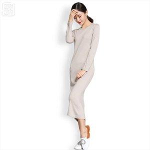 O neck Wool Knit Straight Dress Long Wool Knit Split Dress Solid Color Simple Womens long Sweaters Winter Full Sleeve 1299
