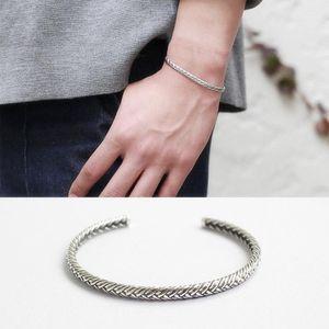 Vintage Thai Silver Color Handmade Woven Bangle Open Adjustable Bangle Bracelet for Women Men1