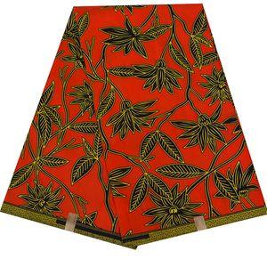 Красный фон Африканского Farbic 6 ярдов / серия Анкара Полиэстер Ткань Шитье Африканской Ткань для женщин вечернего платья