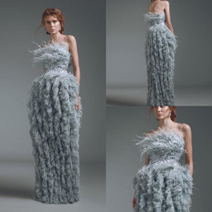 2021 Sheath Evening Dresses Strapless Feather Crystal Tiered Skirts Tulle Formal Dresses Floor Length Prom Dresse robes de soiree
