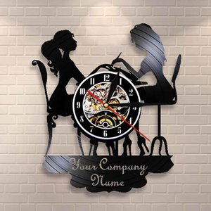 Custom Spa Salon Business Wall Sign Wall Decor Nail Salon Personised Your Name Vinyl Record Wall Clock Polish Fashion Art Clock Y1121