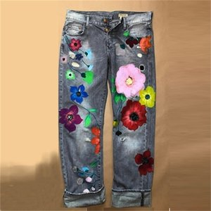 Cute Flower Embroidery Women Jeans New Style Direct Jean Hot Fashion Ladies Printed Thin Denim Spring And Summer Breathe A1112