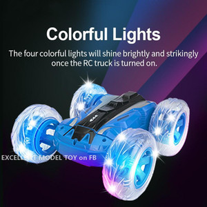 YDJ 2.4G-RC Colorful Lighting Double Sided Stunt Car Toy, 180°-Flip, 360° Spin, Four Wheel Drive, Lights& Music, Xmas Kid Birthday Gifts 2-2