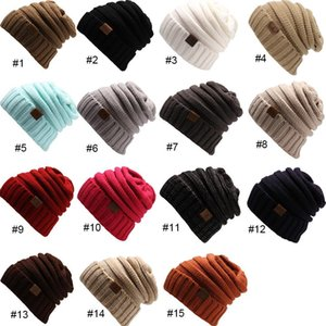 Knitted Hat Beanies Hat CC Women Warm Winter Simple Style Chunky Soft Stretch Men Knitted Beanie Skull Hats 15 Colors CPA3303