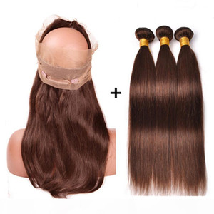 Medium Brown Virgem Weave With 360 Frontal Straight # 4 Chocolate Brown Brown Pacotes de Cabelo Humano com 360 Laço Completo 22.5x4x2