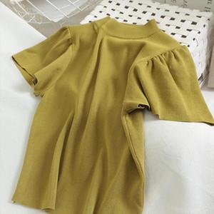 2020 Summer Knitted Tops Women Short Sleeve T shirt Korean Fashion Knit Pullovers T shirt Tee Shirt Femme Tshirt Knitwear