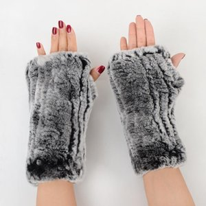 Wholesale-2020 Fashion Girl Natural Real Rex Fur Gloves Good Elastic Knitted Fur Mittens Lady Real Rex Gloves