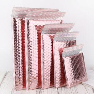 ABD Stok Hızlı Teslimat 10 Adet / Paket Metalik Zarflar Posta Yastıklı Ambalaj Çanta Poli Özel Kabarcık Mailers Gül Altın Holografik Renk