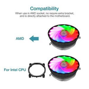 12V Colorful CPU Radiator Ultra-quiet Luminous Fan RGB Computer Fan LED Air Cooling 120mm 3 Pin RGB Light For PC CPU Cooler