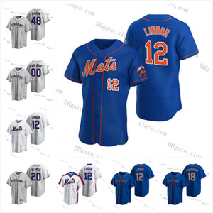 12 Francisco Lindor Jersey 2020 Nuovo personalizzato Jacob degom Pete Alonso Mets Mike Piazza Dwight Gooden Keith Hernandez Darryl Strawberry York