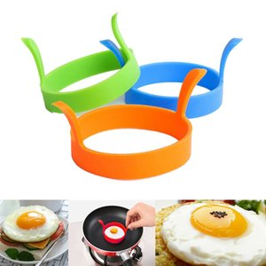 Fried Kitchen Egg Frier Oven Poacher Pancake Ring Mould Tool 6 Colors With handle Silicone Bakeware Cake Mold DHD584