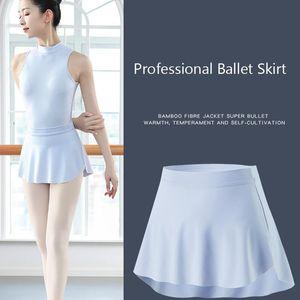 Ballet Skirt Ballerina Dance Skirt Short Dance Dress Pull On Women Dancewear High Waistband Mini Adult Skirted Leotard