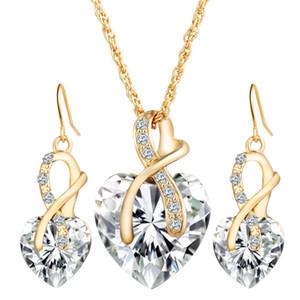 en forma de corazón de la boda cena cristal pendientes del collar de la joyería austríaca de cristal de circón conjunto de joyería simple partido del collar de temperamento