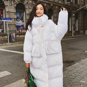 Abrigos largos de invierno para mujer, Parka de gran tamaño, chaquetas lisas, Vintage, holgados, informales, gruesos, cálidos, Parkas con