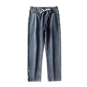 Geniş Bacak Kot Pantolon Erkekler Düz Kesim Gevşek Fit Gri Trendy Elastik Bel İpli Ayak Bileği Uzunlukta Pantolon Relax
