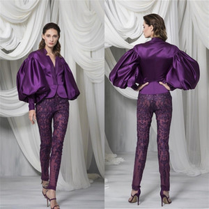 Fashion Purple Pant Suit Women Prom Gowns Satin Long Sleeves Jacket Lace Appliqued Illusion Beading Pants Customise Special Occasion Dress