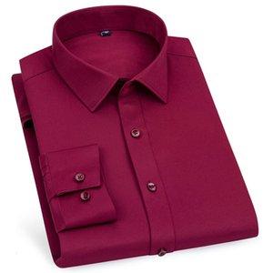 2021 Бренд Высокое Качество Мужчины Длинные Рукав Новый Сплошной Мужской Одежда Подходит Бизнес Рубашка Белый Синий ВМС Черный Красный H8WO