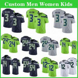 3 Russell Wilson feitos sob encomenda homens mulheres crianças jerseys seahawk14 DK Metcalf 24 Marshawn Lynch 16 Tyler Lockett Largente