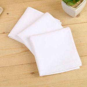 Pañuelo blanco Hankies Hanky Peinado Algodón Pocket Pocket Hombres Mujeres Nuevo