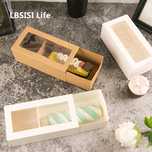 LBSISI Life 10pcs Sweet Time Drawer Stlye Paper Box Handmade Cookies Baking Pack Baby Shower Child Favor Gift Cake Decoration Y1121