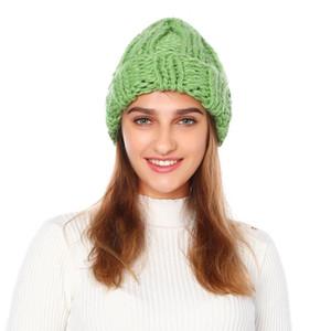 2020 Hirigin Fashion European Donne Cappello Inverno Cappelli invernali per le donne Beanie Berretto Pure-Color Arricciata Cappuccio Berretto Berretto a Berretto a maglia Berretti a maglia