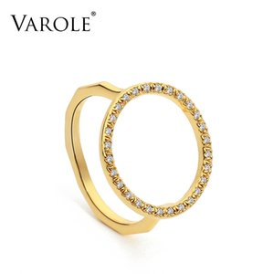 VAROLE Punk big Round Ring Gold Color Simple Finger Rings For Women with Cubic Zirconia Fashion Jewelry Anillos Mujer