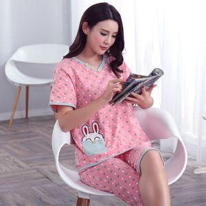 Plus Size XXXL 2020 summer sleepwear pajamas sets v-neck cartoon short sleeve pajama cotton women homewear suit soft Q1201
