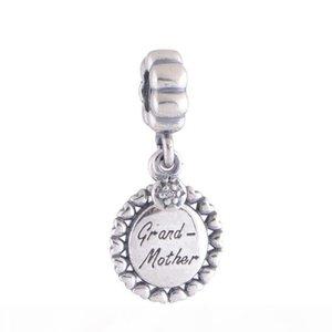 100% 925 Sterling Argent Grand-Mère Pendentif familial Dangle Perle Convient aux bracelets de charme de pandora européen