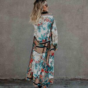 2020 Bohemian Printed Long Kimono Cardigan White Cotton Tunic Plus Size Beachwear Boho Women Tops and Blouse Vintage Shirts A229