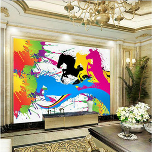 Custom 3d Wallpaper for Walls Abstract ink horse Decorative Painting Wallpapers Silk Home Improvement for living room