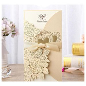 new 4pcs set gold laser cut wedding invitation card rose love heart greeting cards customize envelopes with ribbon event party