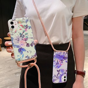Bling Лист Цветы Crossbody Веревка Телефон Чехол для iPhone 11 Pro X XR XS MAX 7 8 PLUS 12 Мини-ТПУ Шнур Ожерелье Ожерелье Ремешок Ремешок